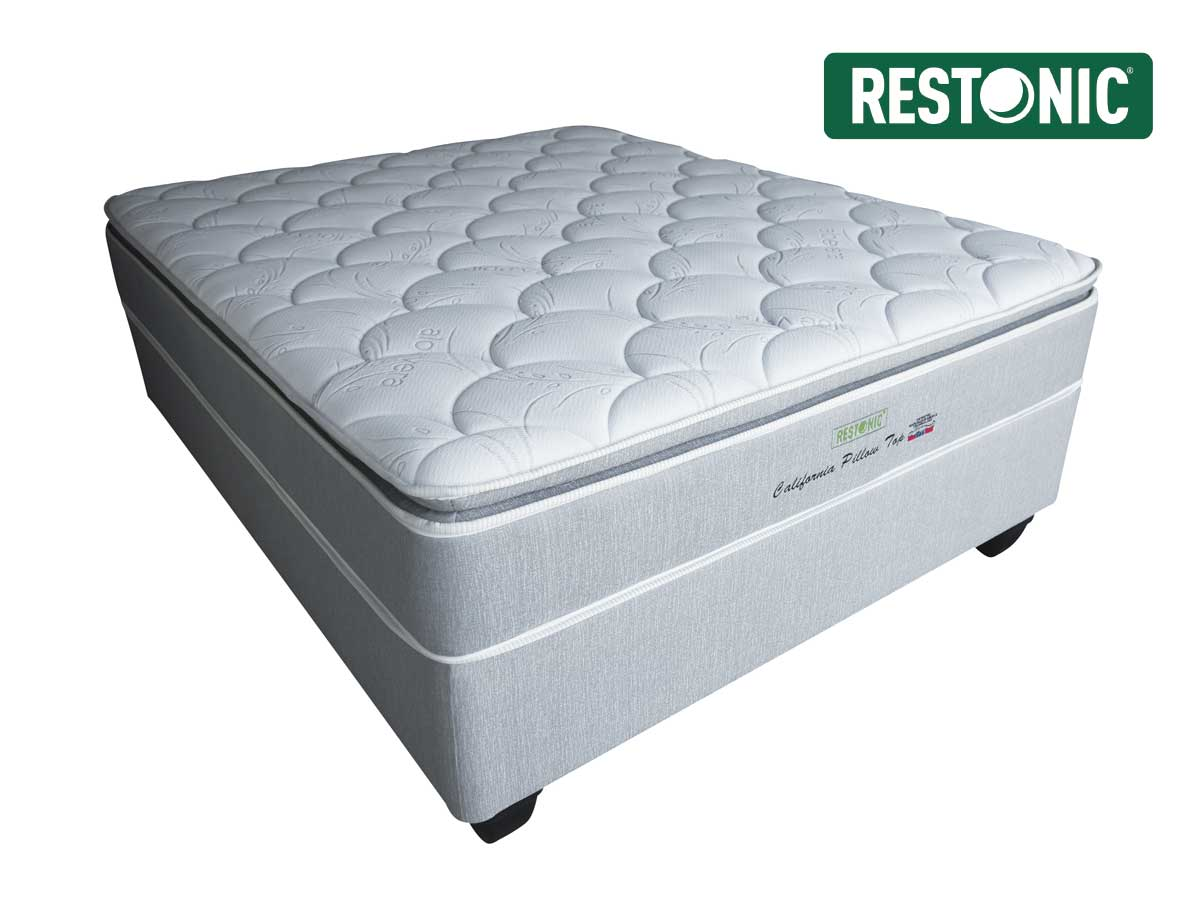 restonic california medium pillow top queen size bed set. Black Bedroom Furniture Sets. Home Design Ideas